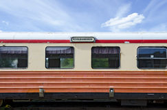 Restaurant car of a narrow-gauge railway. From Virserum to Malilla, Smaland, Sweden Stock Photo