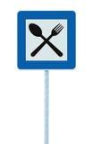 Restaurantwegweiserpfosten, Verkehrsstraße roadsign, Blau lokalisierter Abendessenbarverpflegungsgabellöffel-Straßenrand Signage Lizenzfreie Stockfotos