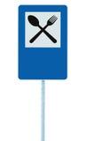 Restaurantzeichen auf Beitragspfosten, Verkehrsstraße roadsign, Blau lokalisierter Abendessenbarverpflegungsgabel-Löffel Signage, Stockbild