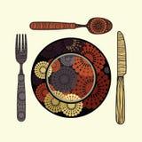 Restaurantzeichen - Messer, Löffel, Gabel und Platte Stockfotografie