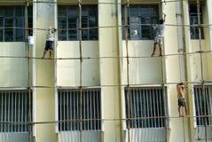 Restauratie van een gebouw in Yangon Stock Fotografie