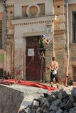 Restauratie van een historisch gebouw Stock Afbeeldingen