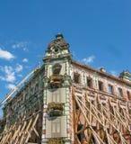 Restauratie van het centrale hotelgebouw in Kazan, Rusland stock foto
