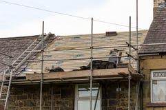 Restauration décorative de toit d'ardoise au Pays de Galles Images libres de droits