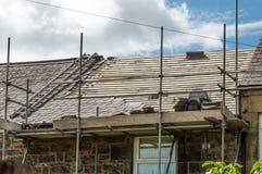 Restauration décorative de toit d'ardoise au Pays de Galles Image libre de droits