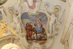 Restauration des peintures de mur dans le château de Bojnice en Slovaquie photos stock