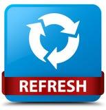 Restaure la cinta roja del botón cuadrado azul ciánico en centro libre illustration