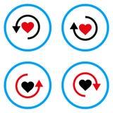 Restaure los iconos redondeados amor del vector Imagen de archivo libre de regalías