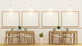 Restaurnat  or cafe and frame for artwork - 3D Rendering Stock Photography