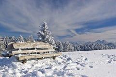 Restbank im Winter Lizenzfreies Stockbild