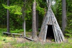 Restcabin in foresta Fotografia Stock Libera da Diritti