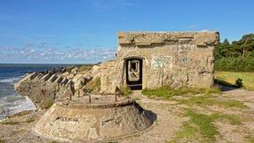 Reste bombardierten sovjet Forts in Liepaja Stockfoto