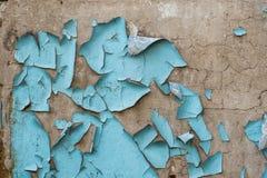 Reste der blauen Farbe auf Betonmauer Lizenzfreie Stockfotografie