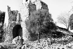 Reste des Kreuzfahrerschlosses in Israel stockbild