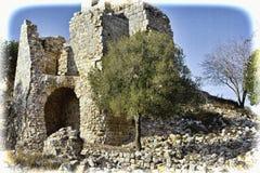 Reste des Kreuzfahrerschlosses in Israel stockfotos