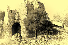 Reste des Kreuzfahrerschlosses in Israel lizenzfreie stockfotos