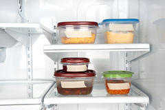 Resten in tupperware Stock Afbeelding