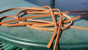 Rester av det bruna läderbältet Royaltyfri Foto