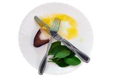 Rester mat på en platta efter frukost Royaltyfri Fotografi