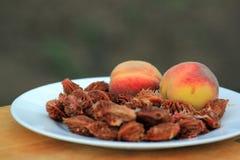 Resterende perziken en perzikpitten op een plaat Stock Foto's