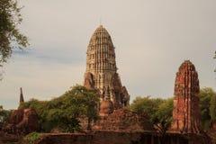 Restes antiques de temple de Wat Ratchaburana à Ayutthaya Hist Photo libre de droits