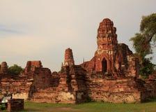 Restes antiques de temple de Wat Ratchaburana à Ayutthaya Hist Photographie stock