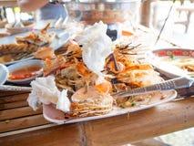 Restes de nourriture, fruits de mer de phung de la CE, restaurant, rayoung, Thaïlande photos libres de droits