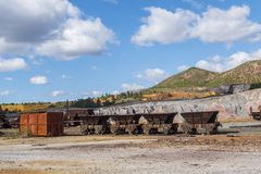 Restes des vieilles mines de Riotinto à Huelva Espagne photographie stock libre de droits