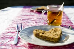 Tea time #5. A restful afternoon tea with bread and teacups Royalty Free Stock Photos