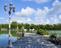 Restful Dock. Dock over the water in the Florida Keys Stock Image