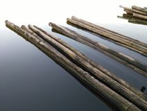 Restful. Relaxing on the bamboo raft Royalty Free Stock Image