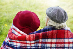 Restful seniors. Back view of affectionate seniors Stock Image