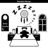 Restful Sleep Icons. Symbols of restful sleep. Teddy bear, comfortable bed, pillow, sleeping mask, ZZZ, dream catcher, starry night, sweet dreams door hanger Stock Photos