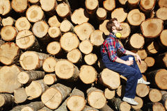 Restful tree-worker. Restful lumber sitting on one of logs at coffee-break Stock Images