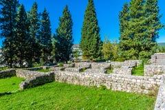 Resti del rustica romano della villa che data a partire dal IV secolo Fotografie Stock Libere da Diritti