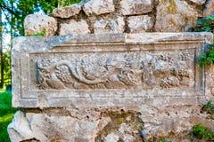 Resti del rustica romano della villa che data a partire dal IV secolo Fotografia Stock