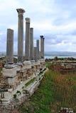 Resti delle colonne romane antiche in Tiro Immagine Stock
