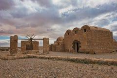 Resti di Qasr Amra un castello del deserto in Giordania orientale Immagine Stock Libera da Diritti