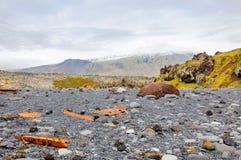 Resti di un relitto della barca alla spiaggia nera sull'Islanda Snaefellsnes fotografia stock libera da diritti