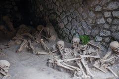 Resti scheletrico delle vittime dell'eruzione di Vesuvio dell'ANNUNCIO 79, Ercolano, Italia immagini stock libere da diritti