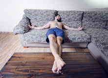 Restin in sofa Stock Photos