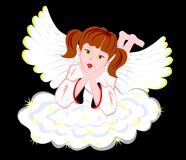 Resting angel. Angel and propped his head resting on a cloud vector illustration
