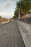 Resting area along Liffey. Walking area along river Liffey, Dublin Royalty Free Stock Photos