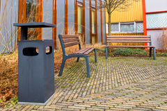 Resting area in the garden. Of an university complex royalty free stock photo