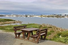 Resting Area on the Hardanger mountains plateau, Norway, Europe. Resting Area on the Hardanger mountains plateau, in Norway, Europe. In August, there is still stock photo