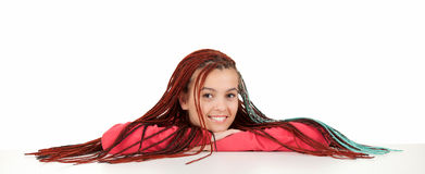 Resting attractive young woman with african hairdo Stock Image