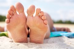 Resting barefoot Royalty Free Stock Photo