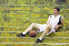 Resting basketball player Royalty Free Stock Images