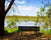 Resting Bench: Beelier Wetlands Stock Image