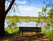 Resting Bench: Beelier Wetlands Stock Image